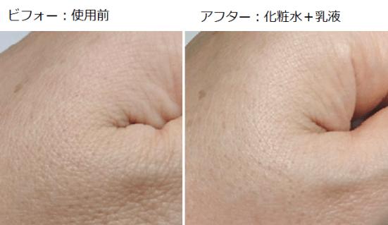 化粧水の使用前と使用後の画像