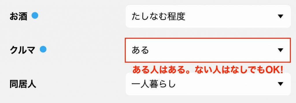 ハッピーメールのプロフィール詳細設定:くるま