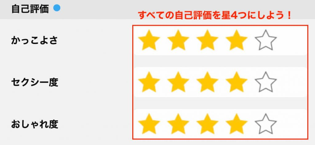 ハッピーメールのプロフィール詳細設定:自己評価
